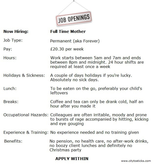 Job Advert Stay At Home Mom